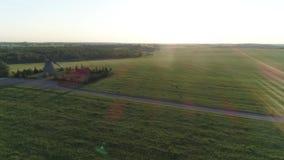 Lucht vliegende vliegen na een vliegende witte ooievaar stock video