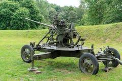 Luchtafweerkanon vanuit de tijd van de Tweede Wereldoorlog royalty-vrije stock afbeelding