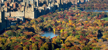 Luchtautumn view van Central Park en de Stad van New York royalty-vrije stock foto