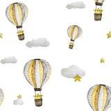 Luchtballon met ster en wolken stock illustratie