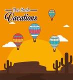 Luchtballon over zonneschijn vectorillustratie als achtergrond Royalty-vrije Stock Afbeelding