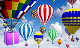 Luchtballonnen in de hemel, met mand/giften Stock Foto