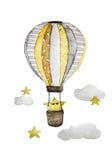 Luchtballons met ster en wolken - Waterverf het schilderen royalty-vrije illustratie