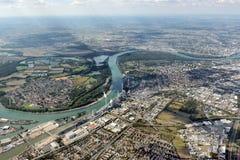 Luchtbeeld Mannheim, Duitsland royalty-vrije stock afbeeldingen