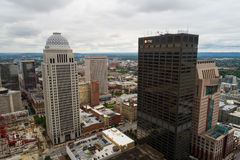 Luchtbeeld van de Bank en Mercer van PNC Mo van Building Downtown Des stock afbeelding