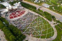 Luchtbeeld van Jay Pritzker Pavilion Millennium Park stock afbeeldingen