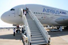 Luchtbus a-380 van het lijnvliegtuig. Stock Afbeelding