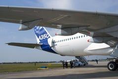 Luchtbus A350 bij de Internationale Ruimtevaartsalon van MAKS Stock Fotografie