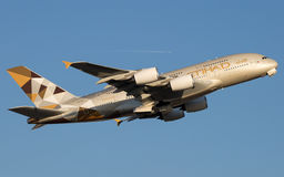 Luchtbus A380 Etihad Airways Stock Foto