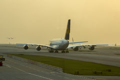 Luchtbus A380 in Lufthansa-vloot bij Hong Kong-luchthaven Stock Afbeelding