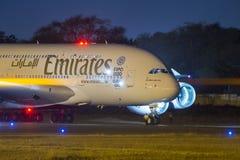 Luchtbus 380 van emiraten Vliegtuigen Stock Foto