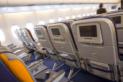 Luchtbusa380 vliegtuig binnen LCD monitors Royalty-vrije Stock Foto