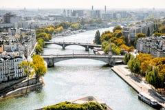 Luchtcityscape mening van Parijs stock afbeeldingen