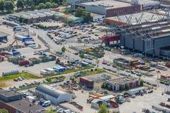 Luchtcityscape van een industriële plaats van Den Haag, Nederland Stock Afbeelding