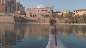 Luchtcityscape van Palma de Mallorca met kathedraal, de Balearen, Spanje stock footage