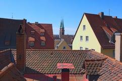 Luchtdiemening van Nurnberg door Sankt Sebaldus Kirche wordt overheerst Nurnberg, Middenfranconia, Beieren, Duitsland royalty-vrije stock fotografie