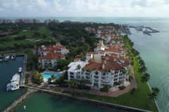 Luchtfoto Fisher Island Stock Foto's