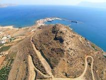 Luchtfoto, Kissamos, Chania, Kreta, Griekenland royalty-vrije stock afbeeldingen