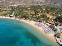 Luchtfoto, Marathi-Strand, Chania, Kreta, Griekenland stock foto