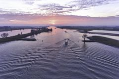 Luchtfoto van binnenlands schip Stock Afbeeldingen