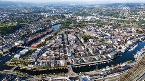Luchtfoto van de stad van Trondheim, Noorwegen Royalty-vrije Stock Foto's