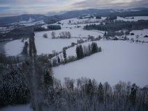 Luchtfoto van de winterlandschap Royalty-vrije Stock Foto