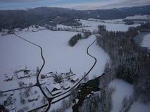 Luchtfoto van de winterlandschap Stock Fotografie