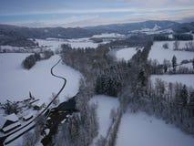 Luchtfoto van de winterlandschap Royalty-vrije Stock Foto's