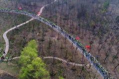 Luchtfoto van drie openluchtsportenfestival van het berg bospark Royalty-vrije Stock Afbeelding