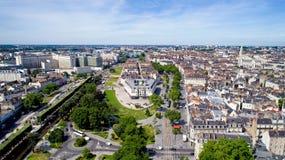 Luchtfoto van Feydeau-district in de stad van Nantes Stock Foto