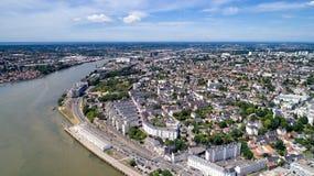 Luchtfoto van het district van Sainte Anne in de stad van Nantes Royalty-vrije Stock Foto's