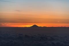 Luchtfoto van Onderstel Fuji tijdens zonsondergang Stock Foto's