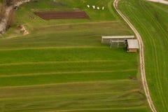 Luchtfoto van pandweg op gebied royalty-vrije stock foto's