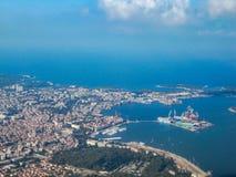 Luchtfoto van Pula, Kroatië stock foto's