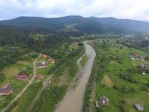 Luchtfoto van rivier Prut stock afbeeldingen