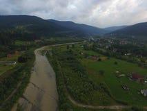 Luchtfoto van rivier Prut royalty-vrije stock foto