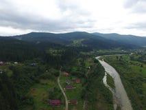 Luchtfoto van rivier Prut royalty-vrije stock afbeelding