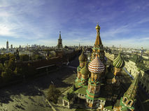 Luchtfoto van St Basil Cathedral, Rood Vierkant, Rusland Stock Foto