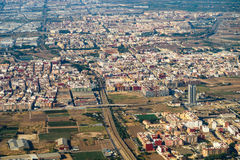 Luchtfoto van Valencia City Surrounding Areas In Spanje royalty-vrije stock foto's