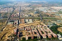 Luchtfoto van Valencia City Surrounding Areas In Spanje stock afbeeldingen