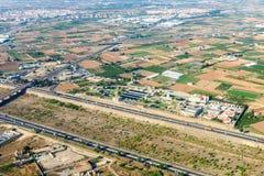 Luchtfoto van Valencia City Surrounding Areas In Spanje royalty-vrije stock foto