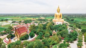 Luchtfoto Wat Muang Ang Thong Thailand Stock Afbeelding