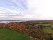 Luchtfotografie Rhode Island en Narrangansett-Baai Stock Fotografie