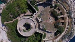 Luchtfotografie van het eiland van mamula in Montenegro stock videobeelden