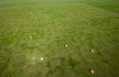 Luchtfotografie van het gebied van de hooibaal in landbouw de Zuid- van Dakota Royalty-vrije Stock Foto