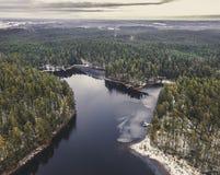Luchtfotografie van meer in de winter - de wijnoogst ziet uitgeeft eruit Royalty-vrije Stock Foto's