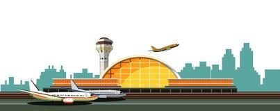 Luchthaven die vectorillustratie bouwen royalty-vrije illustratie