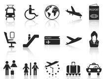 Luchthaven en reis geplaatste pictogrammen vector illustratie