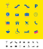 Luchthaven en reis iconset stock illustratie