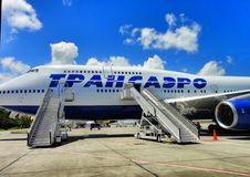 Luchthaven en vliegtuig in Punta Cana van Dominicaanse Republiek Royalty-vrije Stock Afbeeldingen